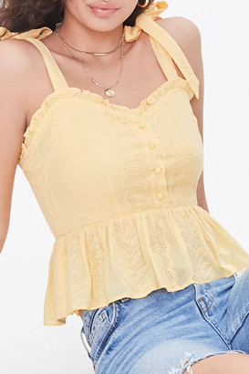 Forever 21 Eyelet Embroidered Tie-Strap Top