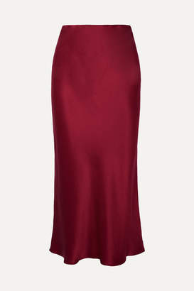 Olivia von Halle Isla Silk-satin Midi Skirt - Burgundy