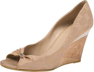 Gucci Beige/Golden Guccissima Canvas Cyprus Cork Wedge Pumps Size 36.5