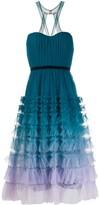 Marchesa Tiered-Ruffle Ombre Midi Dress