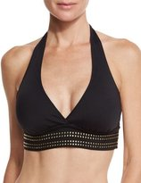LaBlanca La Blanca Nailed It Studded Halter Swim Top, Black