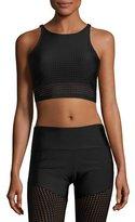 Onzie Perforated Mesh Crop Top/Sports Bra, Black