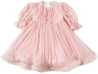 Dolce & Gabbana Silk Chiffon Dress W/ Rabbit Fur