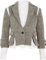 Sacai Herringbone wool-blend tweed jacket