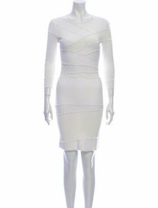 Alexander McQueen Crew Neck Knee-Length Dress White