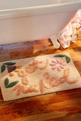 Urban Outfitters Get Naked Floral Bath Mat - White ALL at
