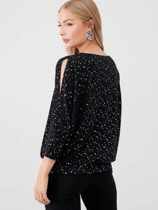 Wallis Stardust Sequin V Neck Banded Top - Black