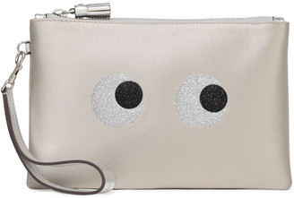 Anya Hindmarch Eyes Metallic Leather-trimmed Glittered Satin Clutch