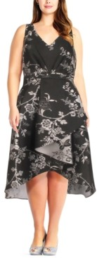 Adrianna Papell Size Floral-Print High-Low Dress