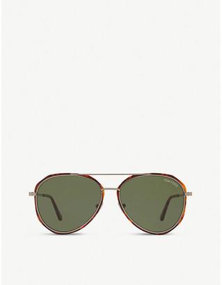 Tom Ford FT0749 60 pilot-framed metal and acetate sunglasses