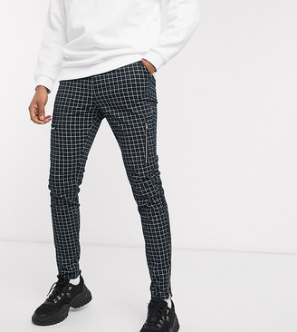 Asos Design DESIGN Tall skinny check trousers with zip details in green