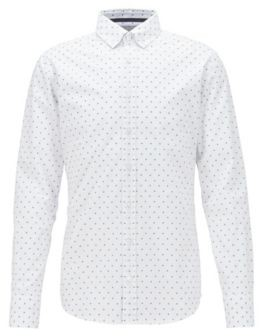BOSS Button-down slim-fit shirt with fil-coupe pattern