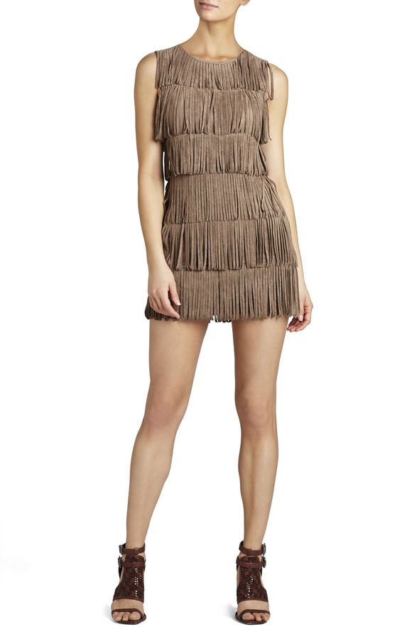 BCBGMAXAZRIA Laylee Sleeveless Fringe-Detailed Sheath