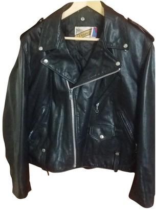 Schott Black Leather Coat for Women