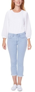 NYDJ Chloe Railroad-Striped Tummy-Control Capri Jeans
