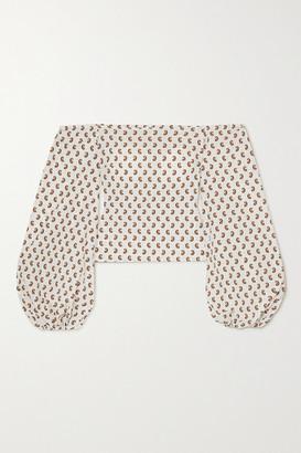 Caroline Constas Bea Off-the-shoulder Paisley-print Cotton-blend Top - White