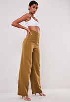 Missguided Sofia Richie X Taupe Tailored Wide Leg Trousers