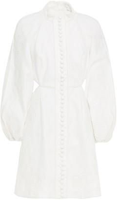 Zimmermann Bonita Corset Cutout Embroidered Linen Mini Dress