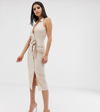 Asos Tall DESIGN Tall halter neck midi dress in linen with buckle-Beige