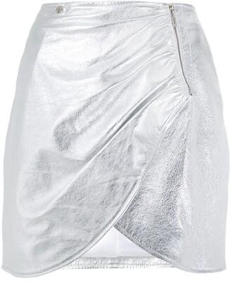 Olympiah Sauge metallic drape skirt