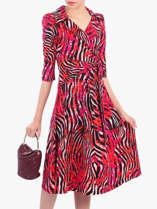 Jolie Moi Revere Collar Tie Front Dress