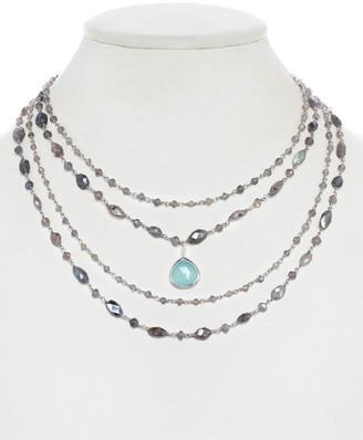 Rachel Reinhardt Silver Gemstone Layered Necklace