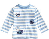 First Impressions Striped Patch-Print Cotton T-Shirt, Baby Boys (0-24 months), Created for Macy's