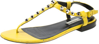 Balenciaga Yellow Leather Studded T Strap Flat Sandals Size 36.5