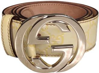 Gucci Interlocking Buckle Yellow Patent leather Belts