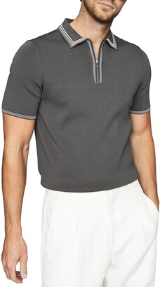 Reiss Stetson Tipped Zip Polo