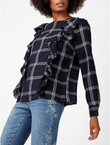George Check Ruffled Blouse