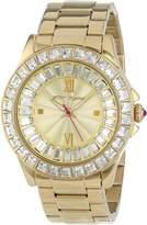 Betsey Johnson BJ00004-16 Women's Crystal Bezel Champagne Dial Yellow Gold Steel Bracelet Watch