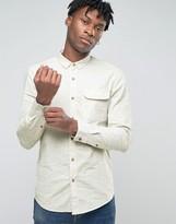 Pull&Bear Shirt With Blue Flecks In White Regular Fit
