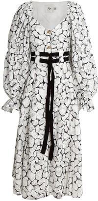 Aje Rebellion Lace Belted Midi Dress