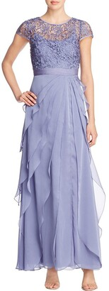Adrianna Papell Women's Petite Chiffon Flutter Gown with Lace Bodice