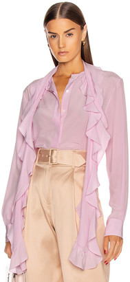 Victoria Beckham Frill Scarf Blouse in Candyfloss Pink | FWRD