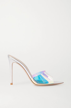 Gianvito Rossi 105 Iridescent Pvc And Leather Mules - Silver