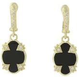 Judith Ripka 14K Yellow Gold 0.25ct. Diamond and Onyx Castle Earrings