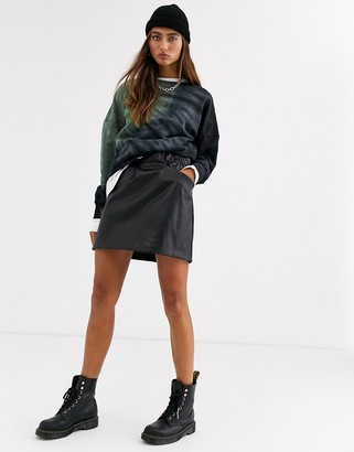 Noisy May leather look mini skirt with pocket detail in black
