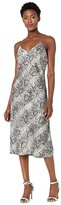 Nell American Rose Spaghetti Strap Snake Print Dress (Silver/Black) Women's Clothing