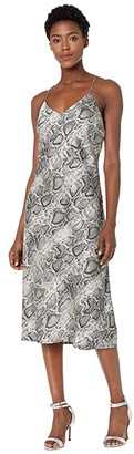 American Rose Nell Spaghetti Strap Snake Print Dress (Silver/Black) Women's Clothing