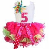 Kirei Sui Hot Pink Green Petal Tutu & Polka Dots 1-6 Birthday Top Outfit