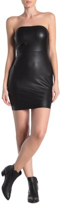 Free People After Hours Strapless Faux Leather Mini Dress