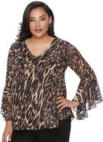 JLO by Jennifer Lopez Plus Size Leopard Chiffon Top