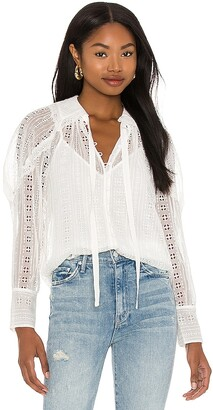 Rebecca Taylor Long Sleeve Geo Embroidery Blouse
