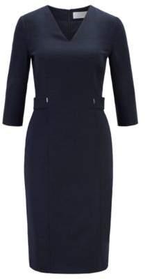 BOSS V-neck dress in stretch virgin wool