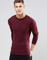 Asos Muscle Fit Crew Neck Sweater in Burgundy Cotton
