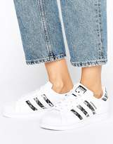 adidas Superstar Trainers With Floral Print Three Stripe