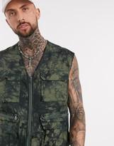 Asos Design DESIGN utility vest in tie dye print khaki