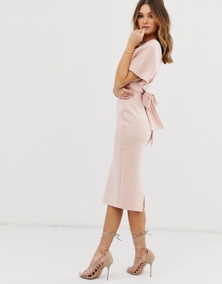 Asos Design DESIGN fallen shoulder midi pencil dress with tie detail-Pink